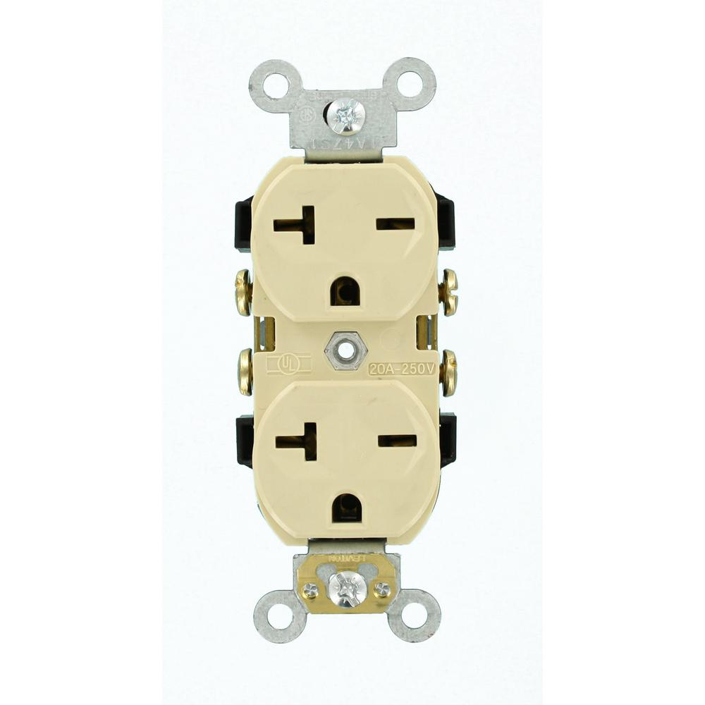 Leviton 20 Amp Commercial Grade Self Grounding Duplex Outlet Ivory