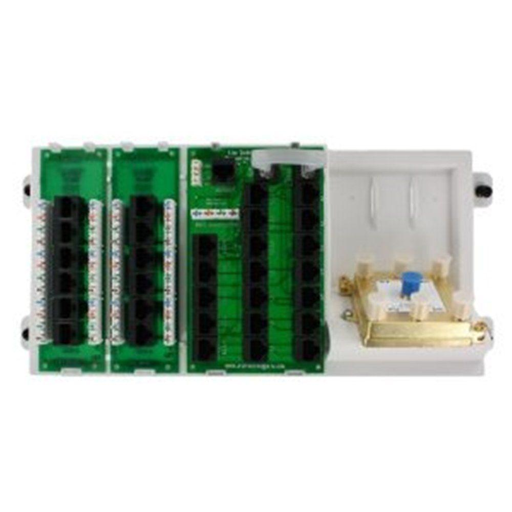 Leviton Structured Media Distribution Panel with 12-Mod RJ-45 Outputs 110 IDC Input and 2-Cat5e V&D ExpansionBoards