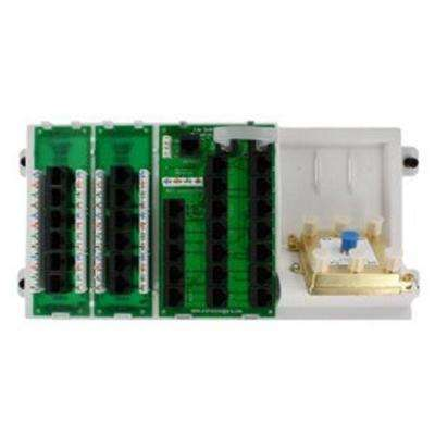 Structured Media Distribution Panel with 12-Mod RJ-45 Outputs 110 IDC Input and 2-Cat5e V&D ExpansionBoards