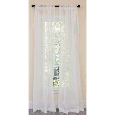 Bonita Diamond Embroidered Sheer Rod Pocket Single Curtain Panel in White - 54 in. x 120 in.