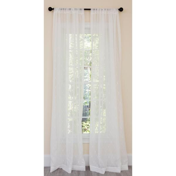 Bonita Diamond Embroidered Sheer Rod Pocket Single Curtain Panel in White - 54 in. x 84 in.