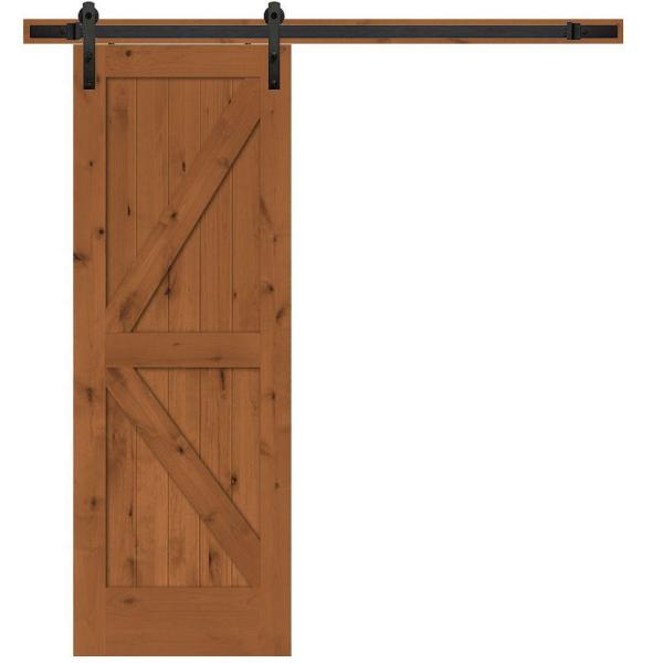 30 in. x 84 in. Rustic 2-Panel Stained Knotty Alder Interior Sliding Barn Door Slab with Hardware