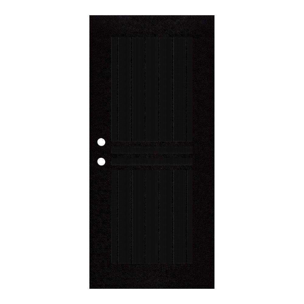 unique home designs 30 in x 80 in plain bar black right hand surface mount aluminum security. Black Bedroom Furniture Sets. Home Design Ideas
