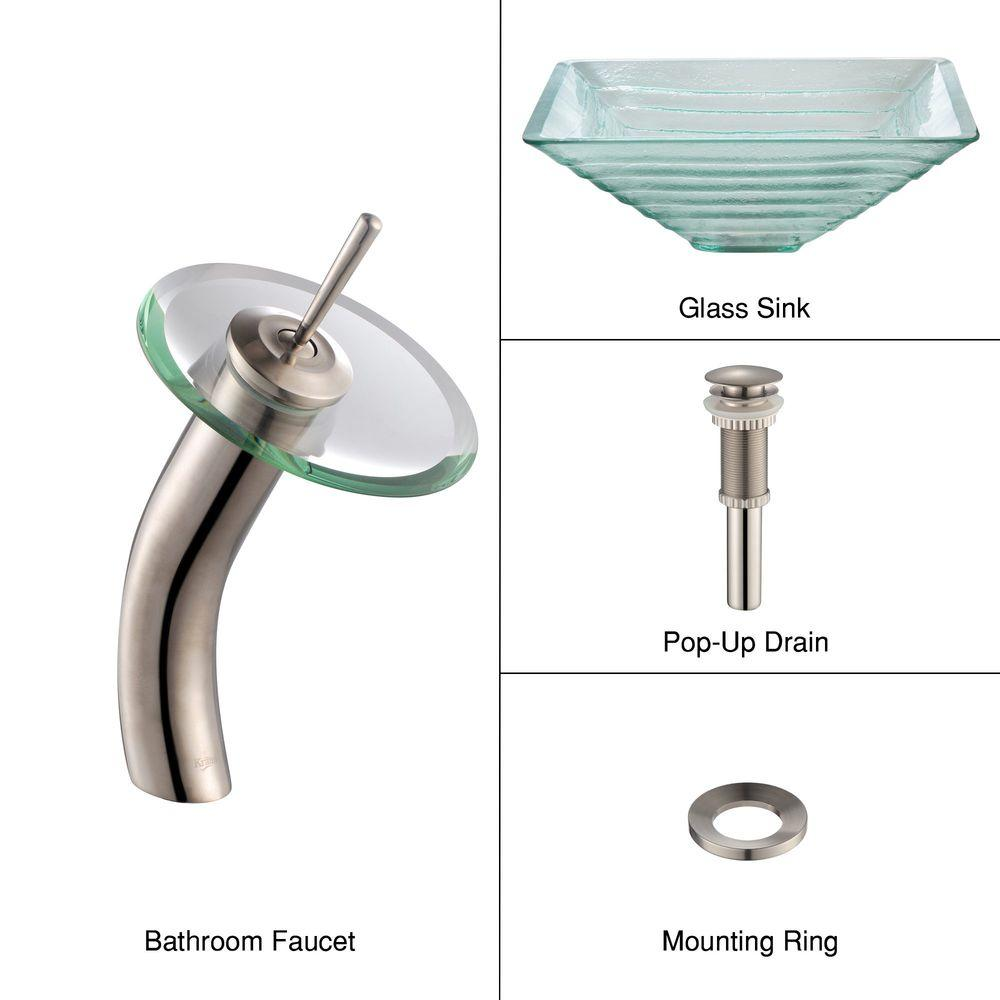 KRAUS Alexandrite Glass Bathroom Sink in Clear with Single Hole 1-Handle Low Arc Waterfall Faucet in Satin Nickel
