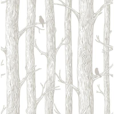 White and Off-White The Forest Peel and Stick Wallpaper