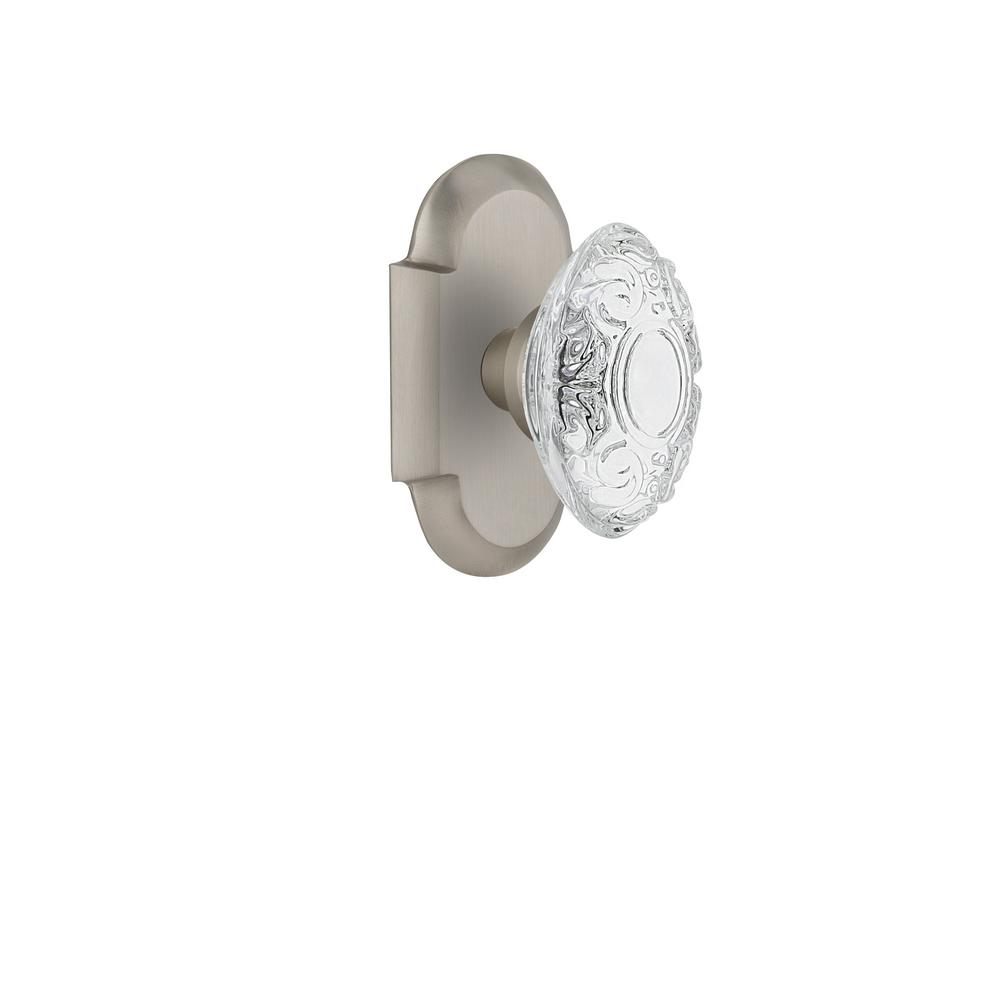 Cottage Plate 2-3/8 in. Backset Satin Nickel Passage Hall/Closet Crystal