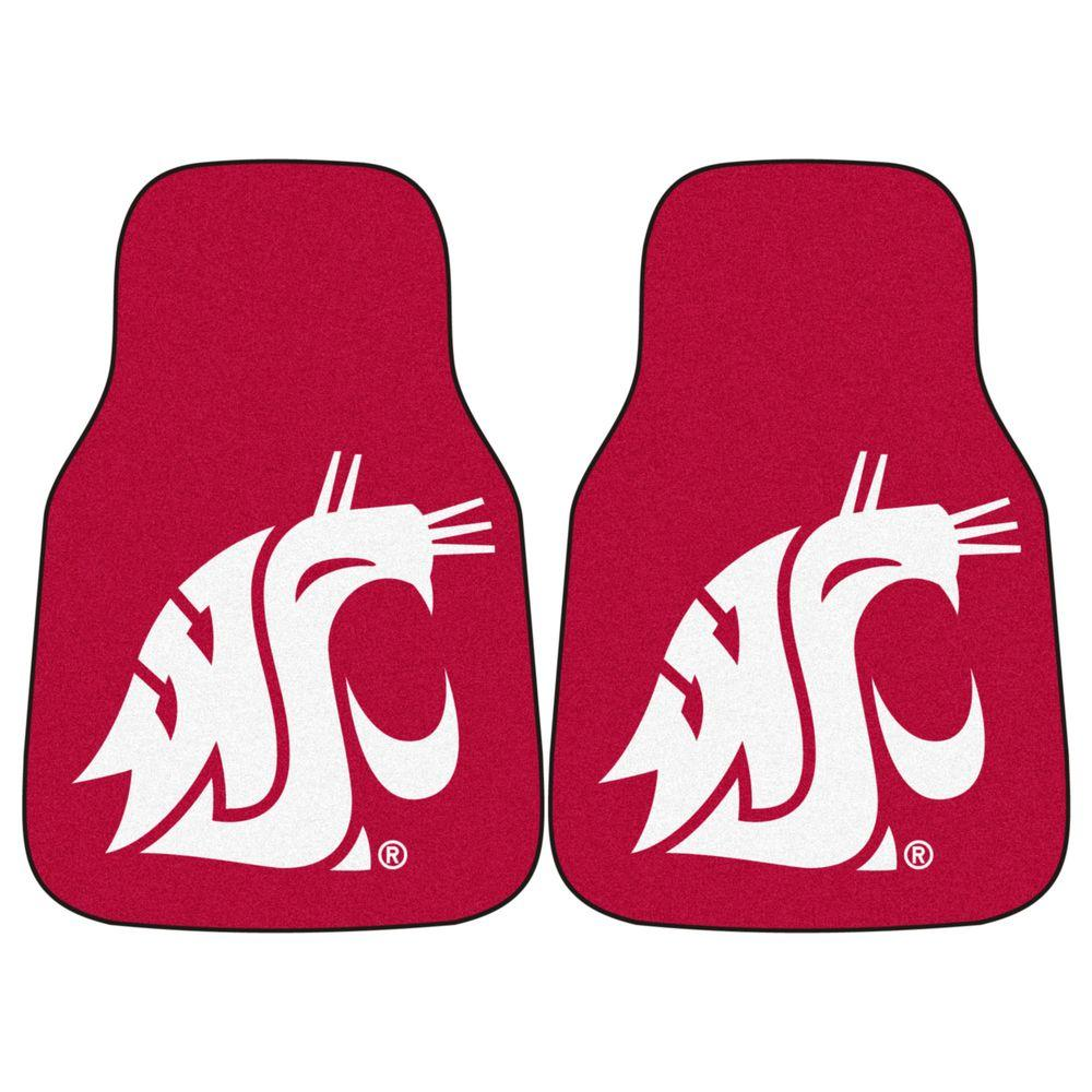 Fanmats Washington State University 18 In X 27 In 2 Piece Carpeted Car Mat Set 5509 The Home Depot