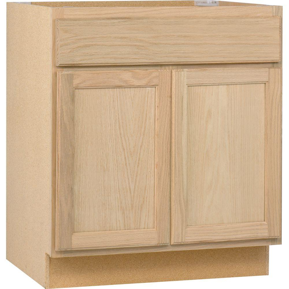 base kitchen cabinet in unfinished oak assembled 30x34 5x24 in  base kitchen cabinet in unfinished oak      rh   homedepot com