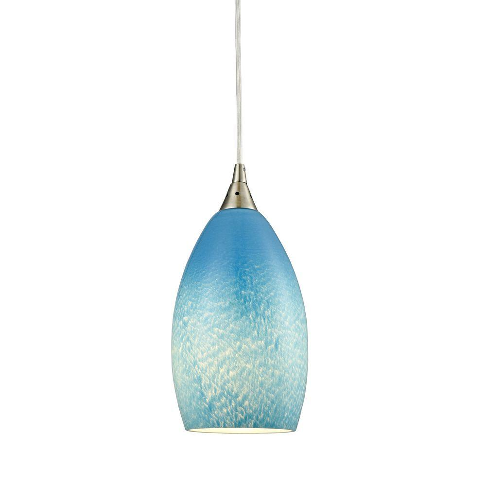 Earth 1 Light Satin Nickel Pendant With Sky Blue Gl