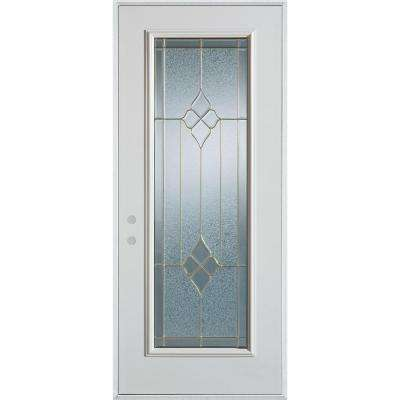 32 in. x 80 in. Geometric Brass Full Lite Painted White Right-Hand Inswing Steel Prehung Front Door