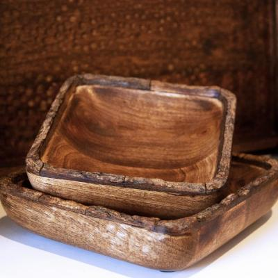 Artisan Wood Bark Natural Decorative Bowl
