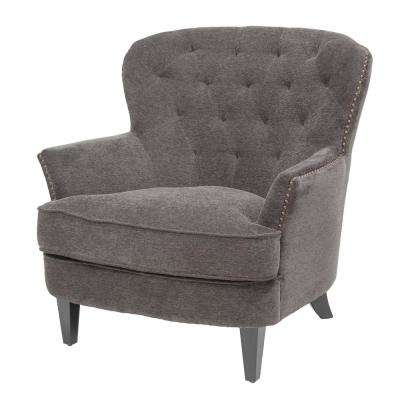 Mya Dark Grey Fabric Diamond Tufted Club Chair