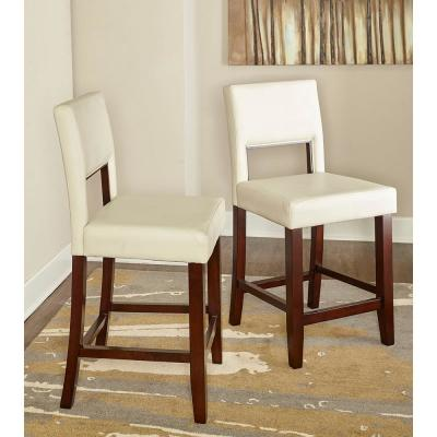 Vega 24 in. White Cushioned Counter Stool