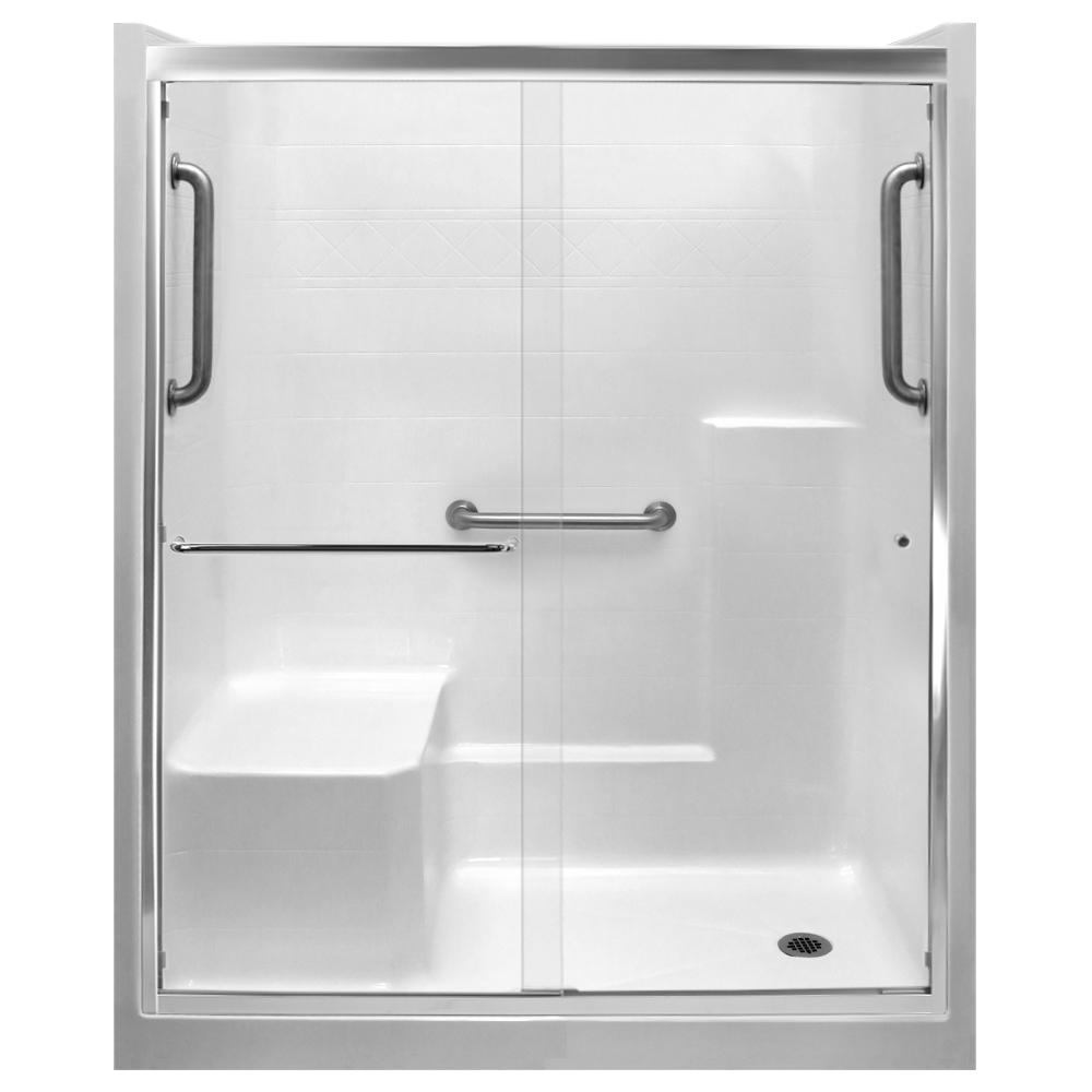 Ella 60 in. x 33 in. x 77 in. Right Drain Alcove 1-Piece Shower Stall in White, LHS Seat, Grab ...