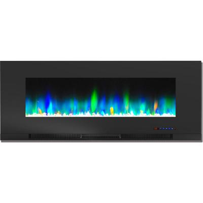 50 in. Wall-Mount Electric Fireplace in Black with Multi-Color Flames and Crystal Rock Display