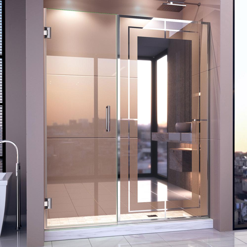 Dreamline Unidoor Mira 58 In 58 1 4 In W X 72 In H Frameless Hinged Shower Door In Chrome D245872m12 01 The Home Depot