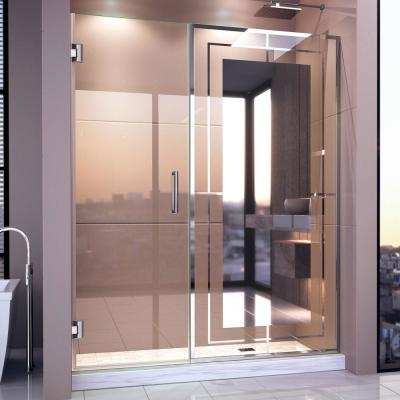 Unidoor Mira 58 in. - 58-1/4 in. W x 72 in. H Frameless Hinged Shower Door in Chrome