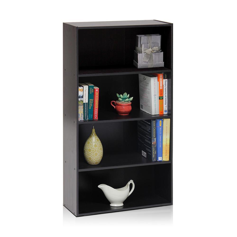 Pasir 4-Shelf Espresso Bookcase with Open Shelves