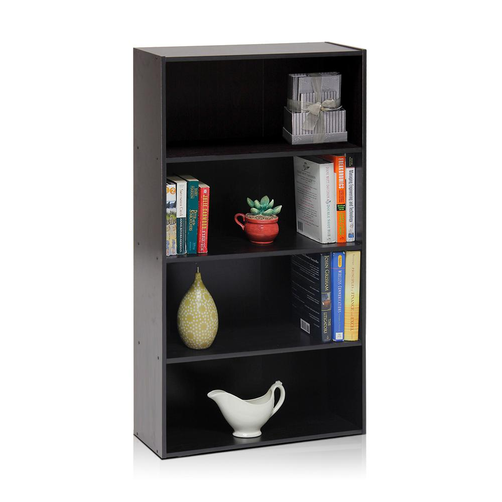 Pasir 4-Shelf Espresso Bookcase with Open Shelves