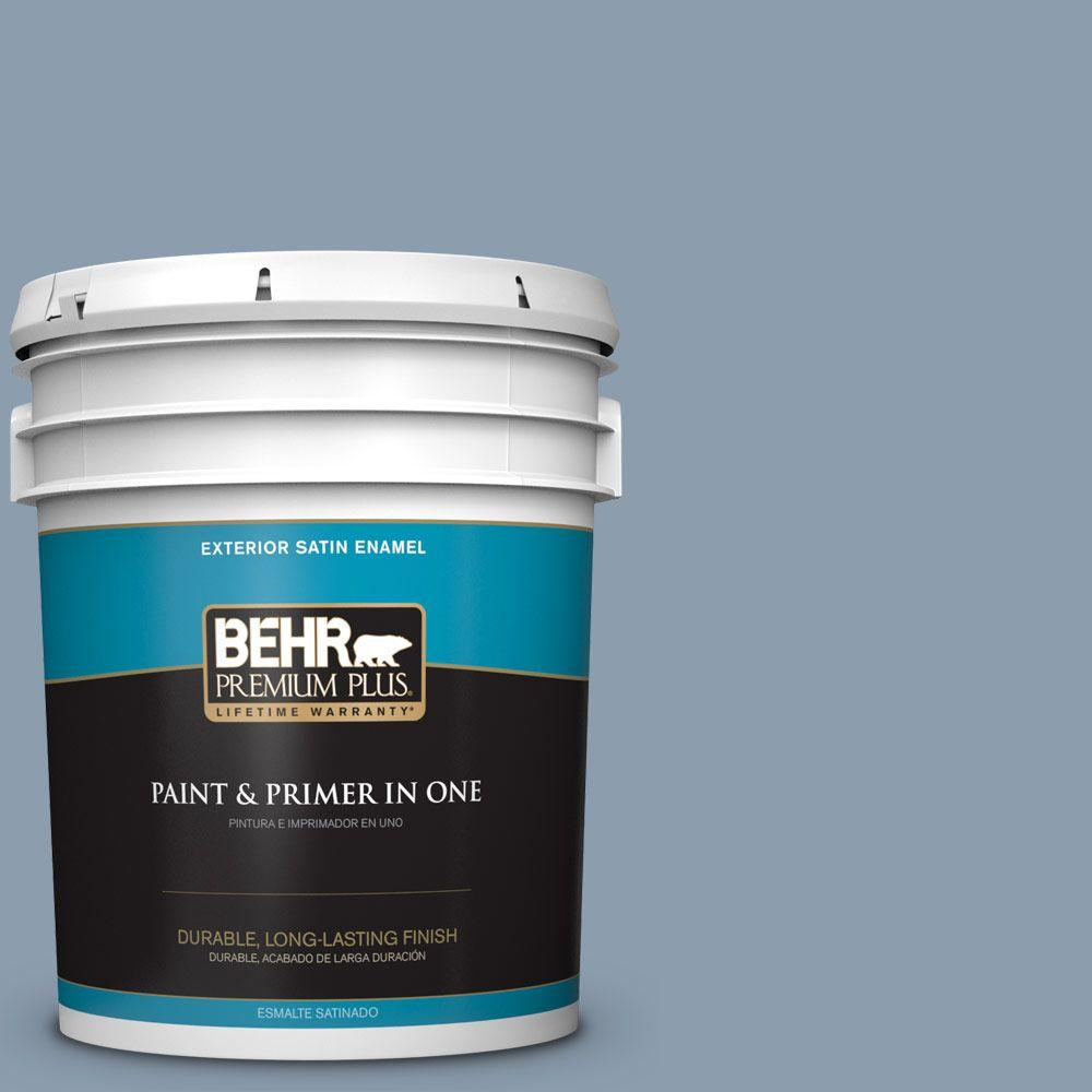 BEHR Premium Plus 5-gal. #ICC-65 Relaxing Blue Satin Enamel Exterior Paint