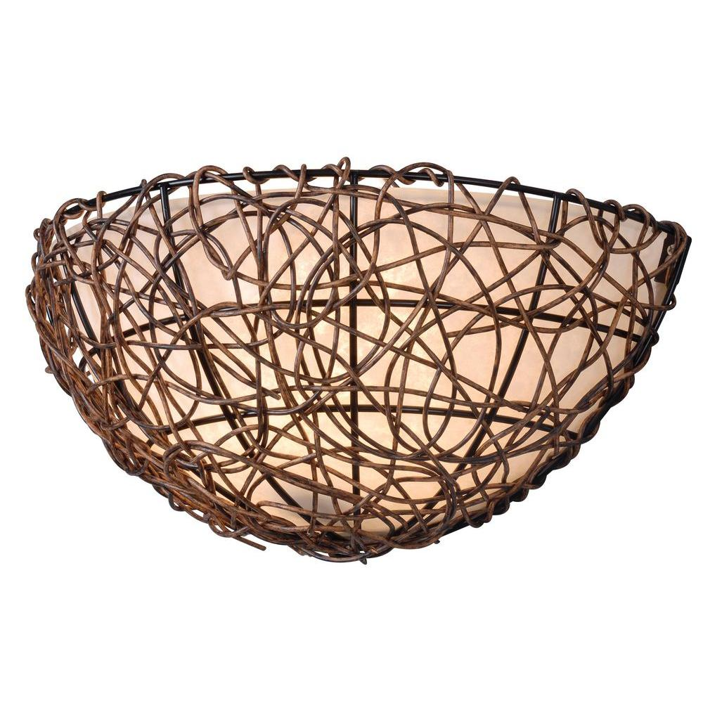 null Thicket 1-Light Rattan Sconce