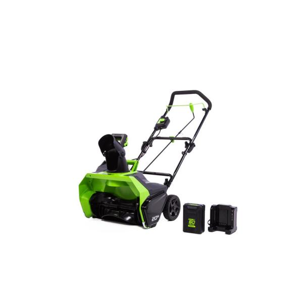 PRO 20 in. 60-Volt Single-Stage Electric Cordless Snow Blower with 4.0 Ah Battery and Charger SN60L410