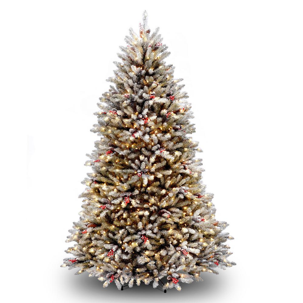 National Tree Company 7 ft. Dunhill Fir Hinged Tree with Snow, Red Berries,
