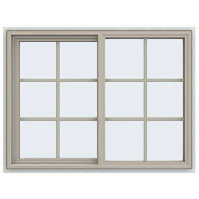 47.5 in. x 35.5 in. V-4500 Series Left-Hand Sliding Vinyl Window with Grids - Tan