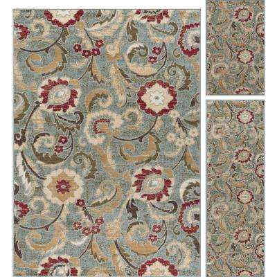 Laguna Blue 5 ft. x 7 ft. 3-Piece Rug Set