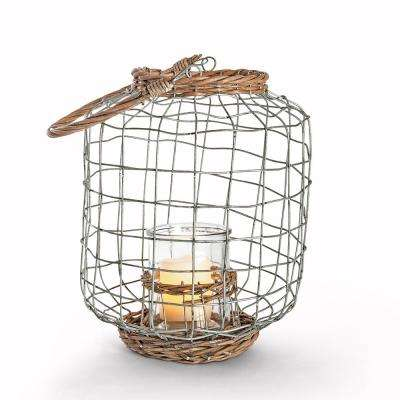 9 in. x 11.6 in. Wire and Rattan Lantern