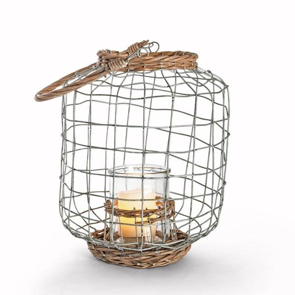 Lone Elm Studios 9 in. x 11.6 in. Wire and Rattan Lantern