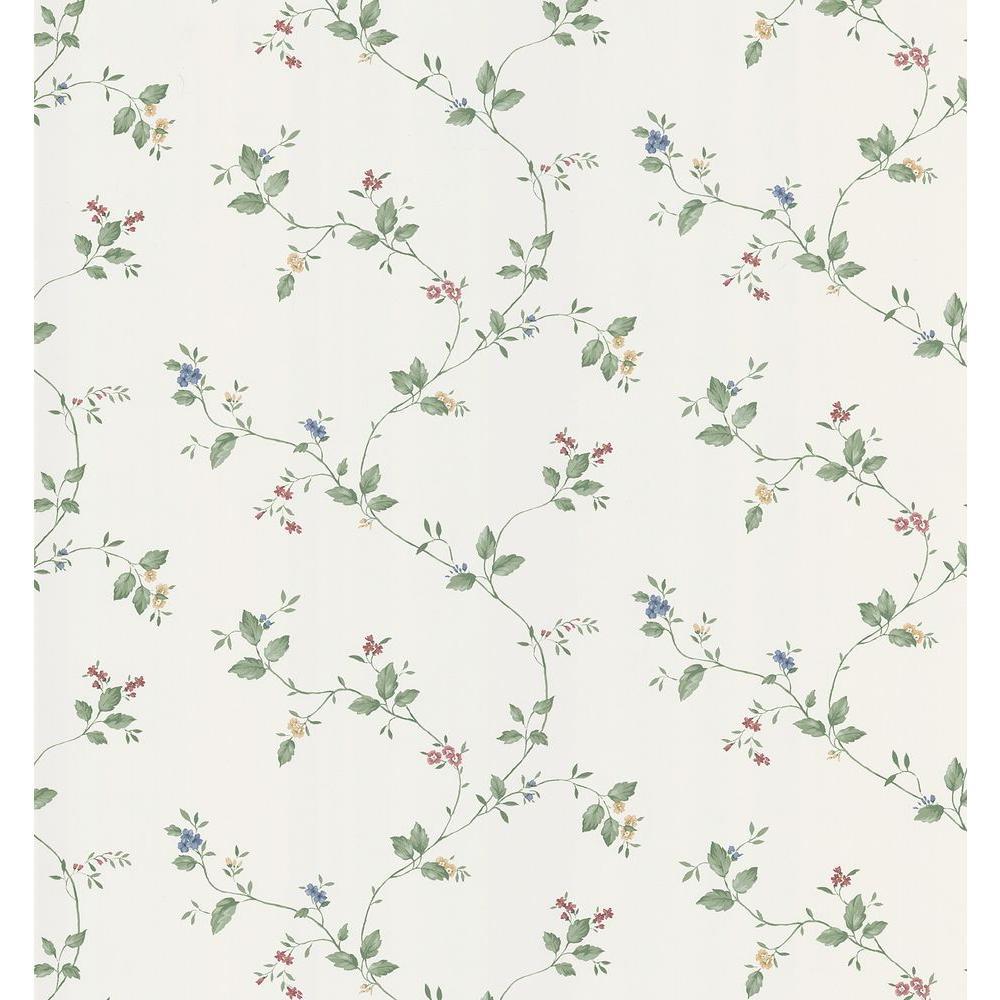 Cottage Living Eva White Floral Trail Wallpaper Sample