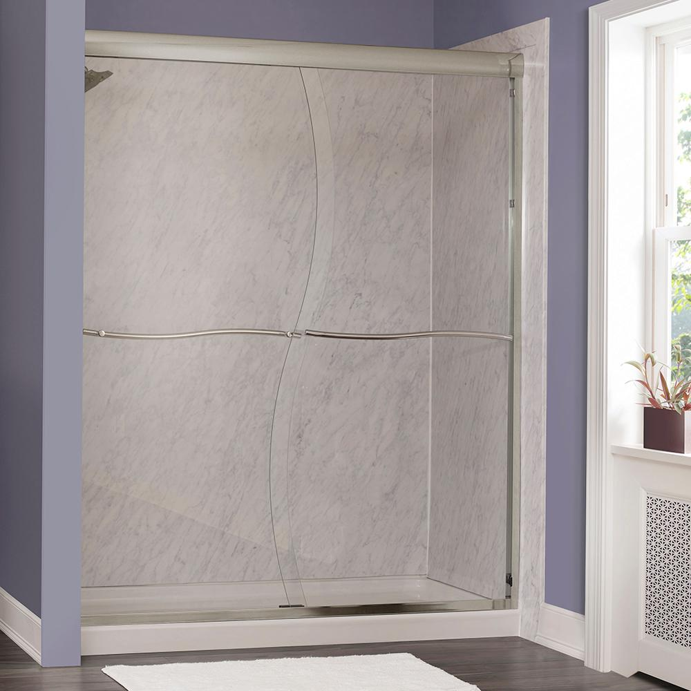 Foremost Marina 58 in. W x 72 in. H Frameless Sliding Shower Door in Brushed Nickel