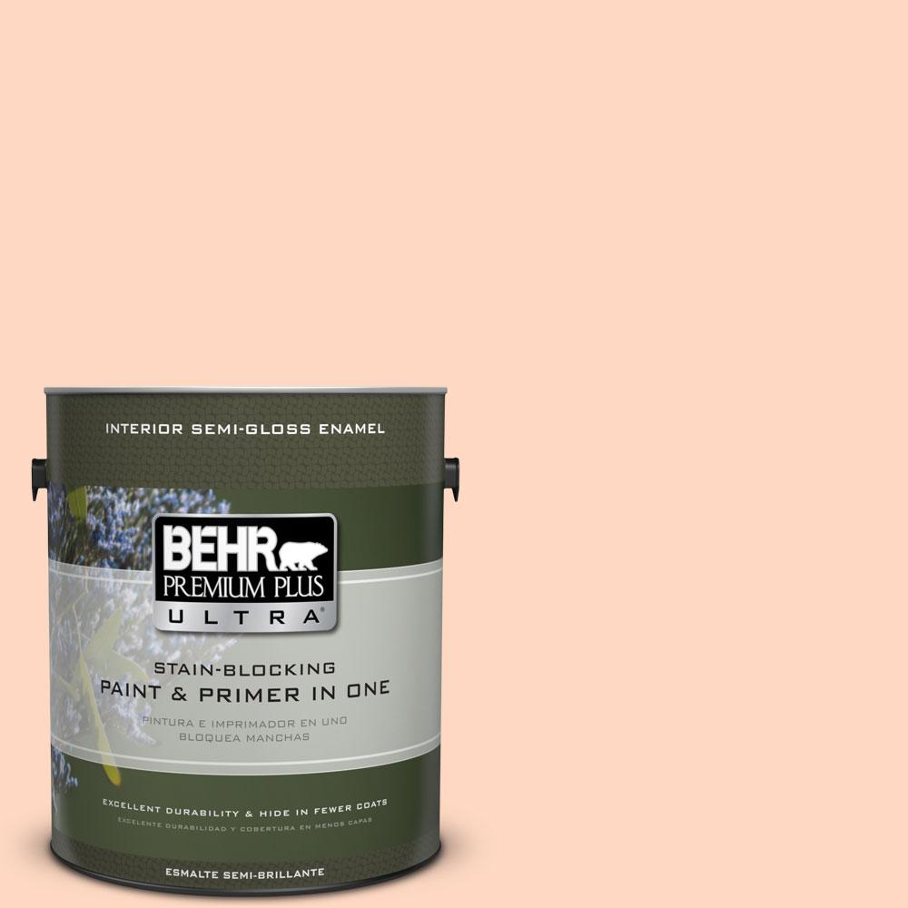 BEHR Premium Plus Ultra 1-gal. #240A-2 Sunkissed Peach Semi-Gloss Enamel Interior Paint