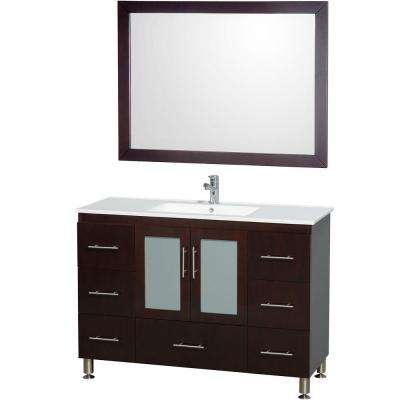Katy 48 in. Vanity in Espresso with Man-Made Stone Vanity Top in White and Integrated Porcelain Sink