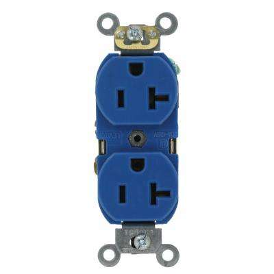20 Amp Industrial Grade Heavy Duty Self Grounding Duplex Outlet, Blue
