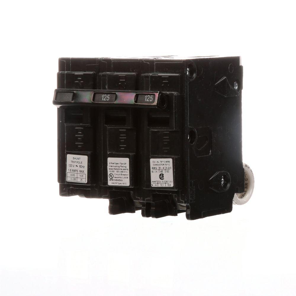 125 Amp Double-Pole Type QP Circuit Breaker with 120-Volt Shunt Trip