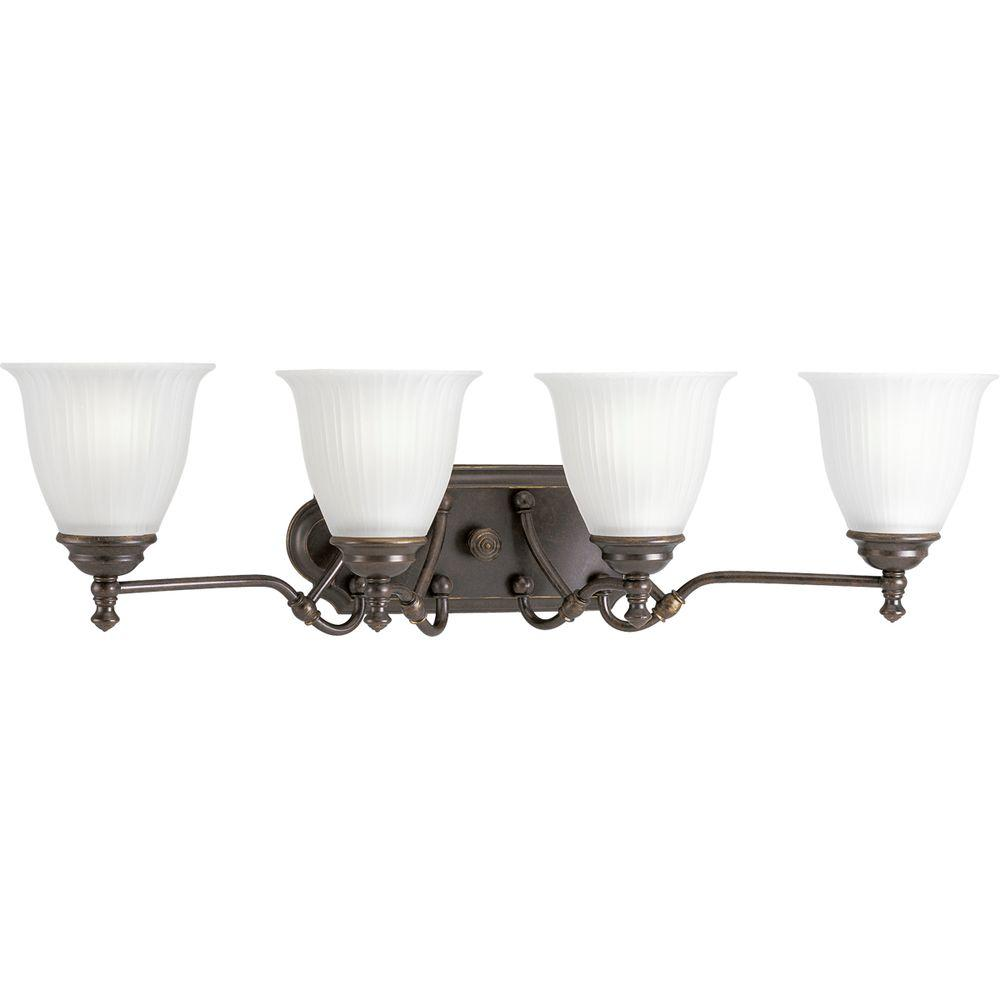 Progress Lighting Renovations Collection 4-Light Forged Bronze Vanity Light with Etched Glass Shades