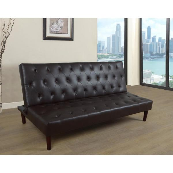 Black Faux Leather Convertible Sofa Bed Futon