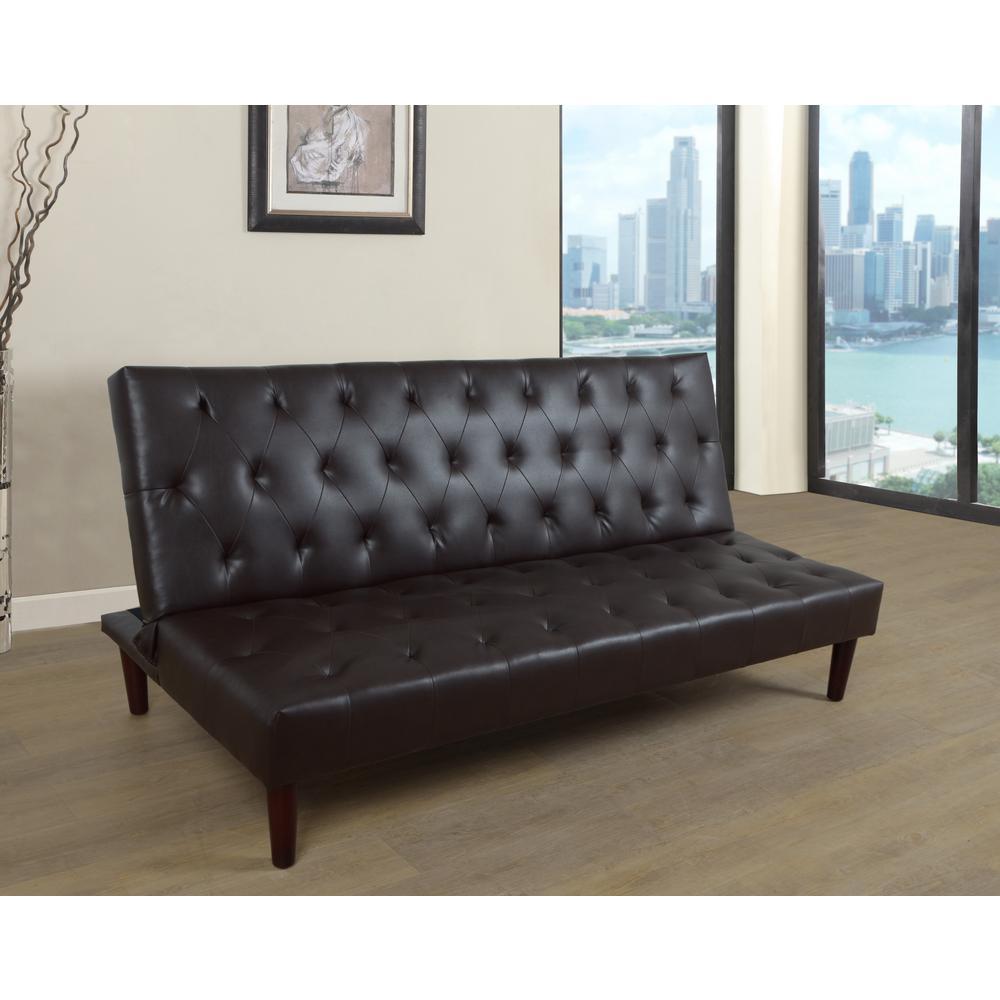 Black Faux Leather Convertible Sofa Bed Futon