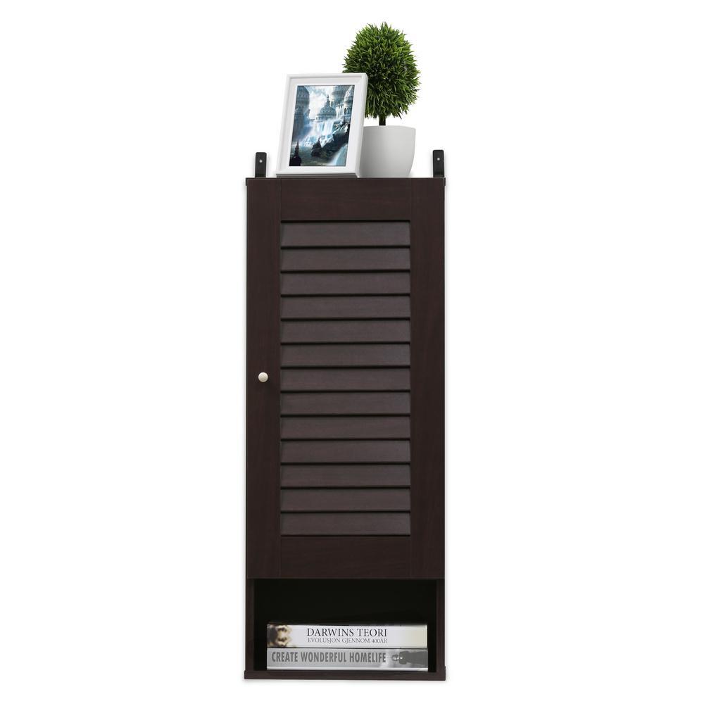 Furinno Furinno Indo Espresso Slim Wall Cabinet, Brown