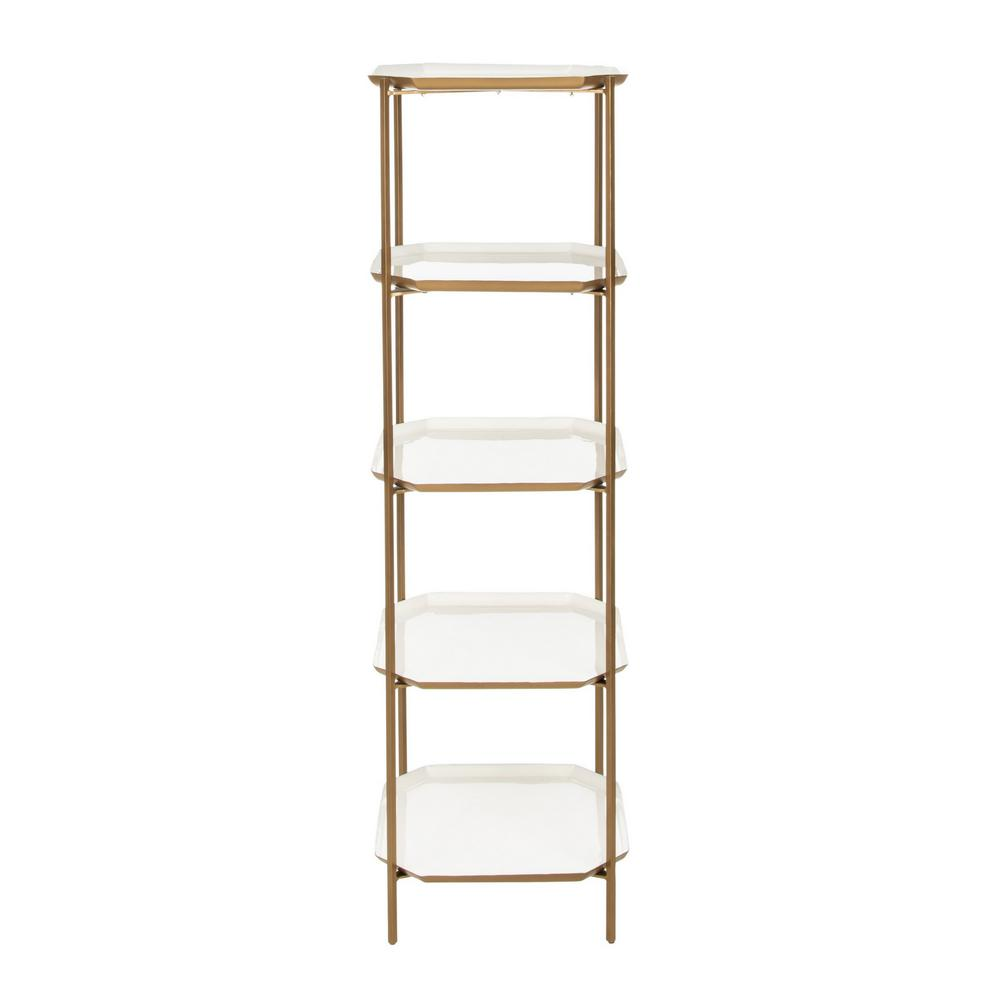 53 in. White/Brass Metal 5-shelf Etagere Bookcase with Open Back