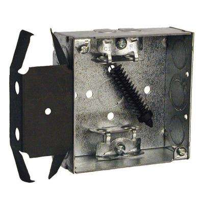 4 in. Square Welded Box, 1-1/2 in. Deep with Armored Cable/Metal Clad/Flex Clamps and BOX-LOC Bracket (Carton of 25)