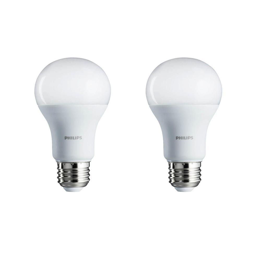 Philips 75 watt equivalent a19 non dimmable energy saving led light bulb soft white 2700k 2 pack
