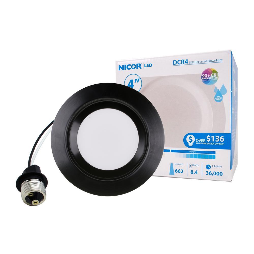 4 in. Downlight Black Integrated LED Recessed Trim Retrofit Light