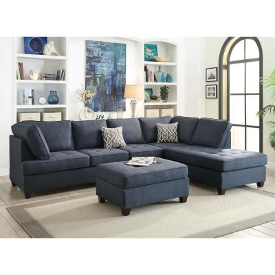 2-Piece Blue Fabric 6-Seater L-Shaped Sectional Sofa with Wood Legs