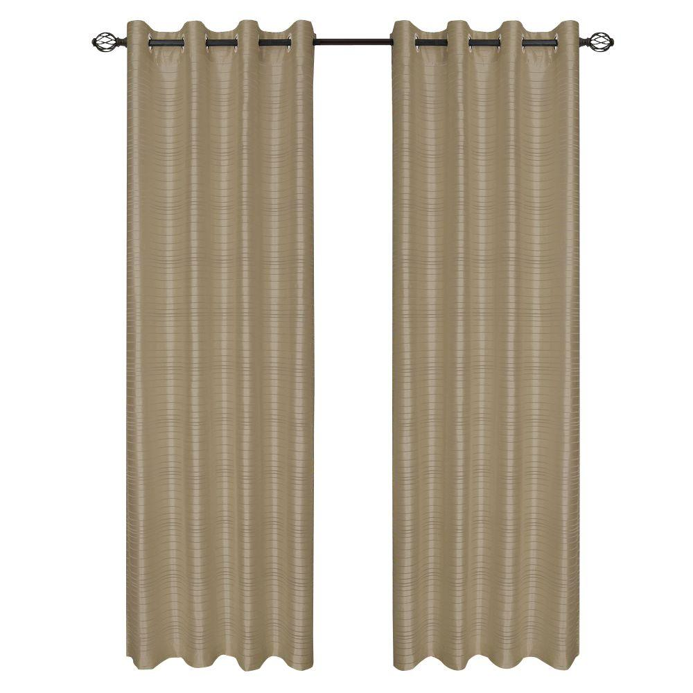 Lavish Home Taupe Maggie Grommet Curtain Panel, 108 in. Length