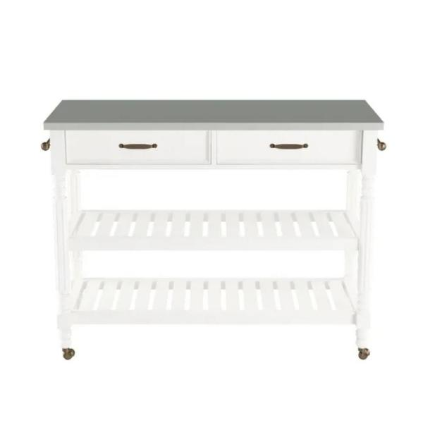 Savannah White Kitchen Cart with Stainless Top