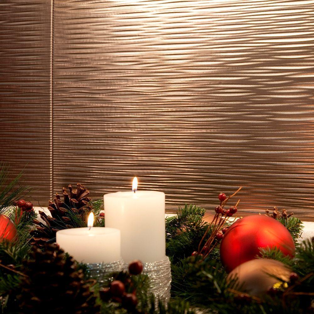 24 in. x 18 in. Ripple PVC Decorative Tile Backsplash in Brushed Nickel