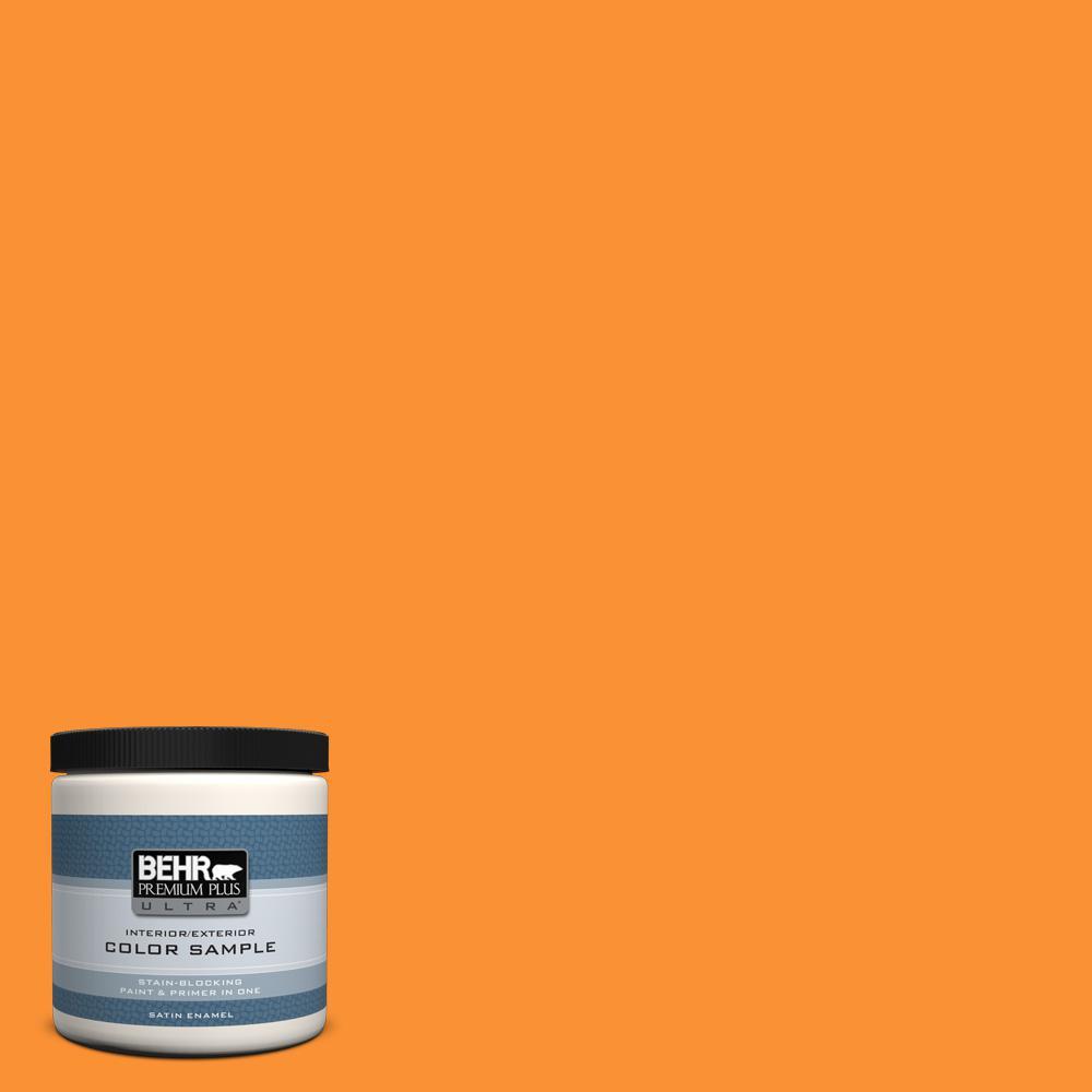 P240 7 Joyful Orange Satin Enamel Interior Exterior Paint And Primer In One Sample